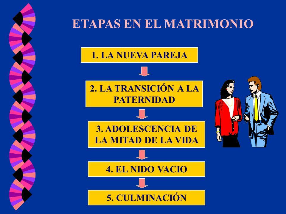ETAPAS EN EL MATRIMONIO 1. LA NUEVA PAREJA 2. LA TRANSICIÓN A LA PATERNIDAD 3. ADOLESCENCIA DE LA MITAD DE LA VIDA 4. EL NIDO VACIO 5. CULMINACIÓN