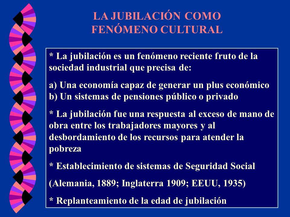 LA JUBILACIÓN COMO FENÓMENO CULTURAL * La jubilación es un fenómeno reciente fruto de la sociedad industrial que precisa de: a) Una economía capaz de