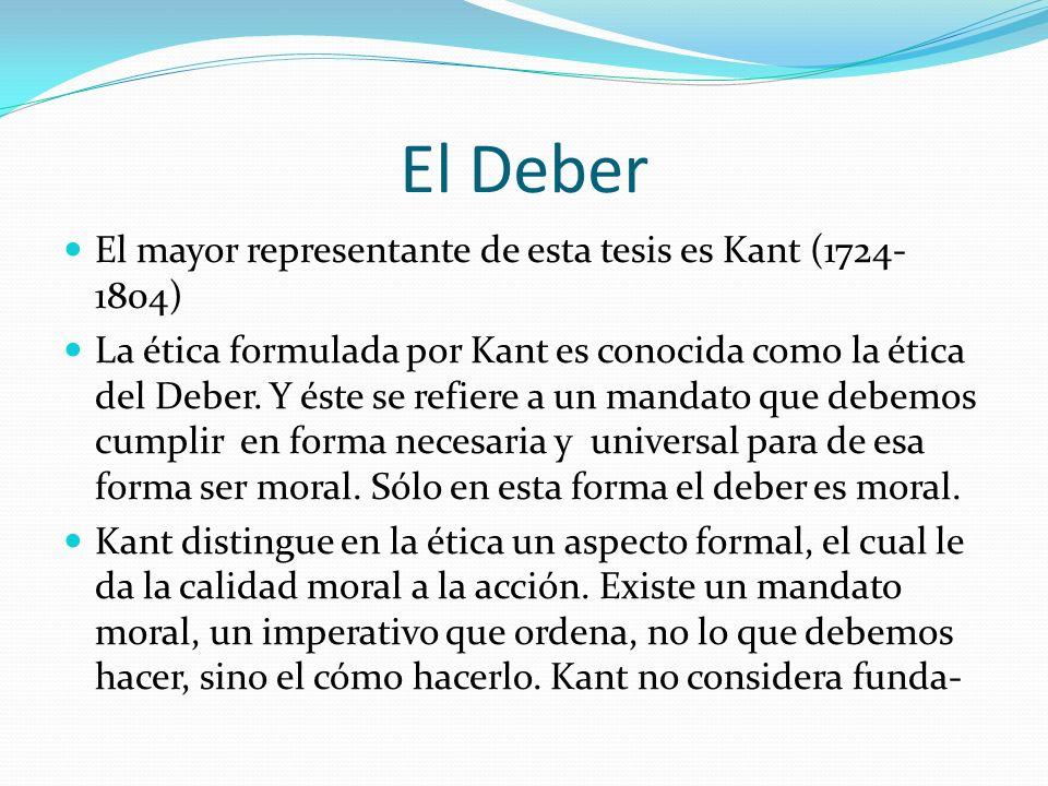 El Deber El mayor representante de esta tesis es Kant (1724- 1804) La ética formulada por Kant es conocida como la ética del Deber. Y éste se refiere