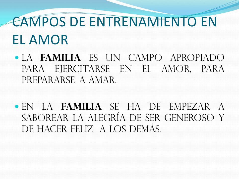 CAMPOS DE ENTRENAMIENTO EN EL AMOR LA FAMILIA ES UN CAMPO APROPIADO PARA EJERCITARSE EN EL AMOR, PARA PREPARARSE A AMAR.