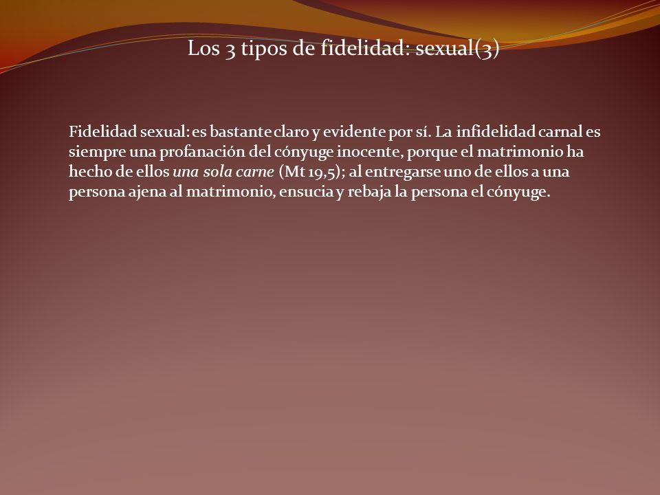 Los 3 tipos de fidelidad: sexual(3) Fidelidad sexual: es bastante claro y evidente por sí. La infidelidad carnal es siempre una profanación del cónyug