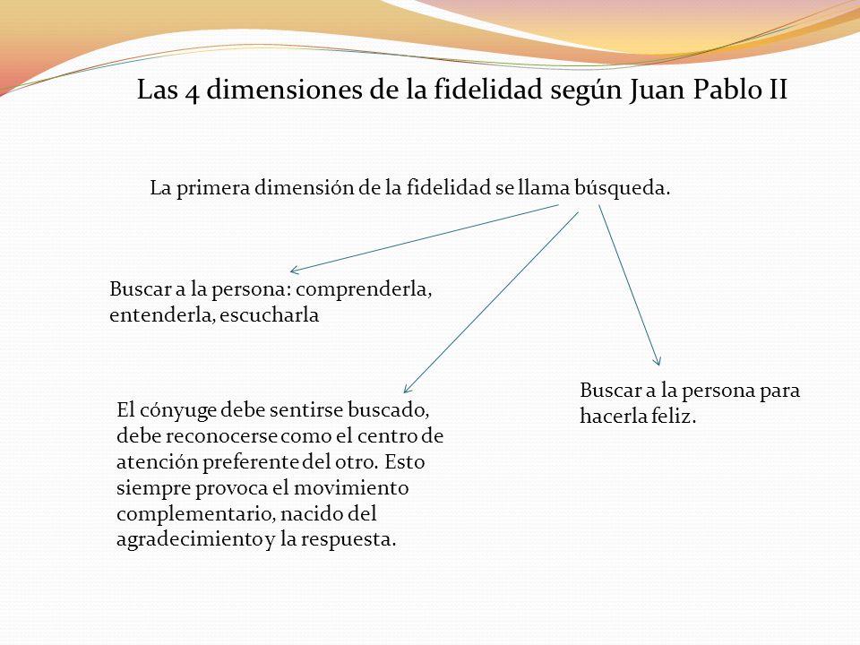 La primera dimensión de la fidelidad se llama búsqueda. Las 4 dimensiones de la fidelidad según Juan Pablo II Buscar a la persona: comprenderla, enten