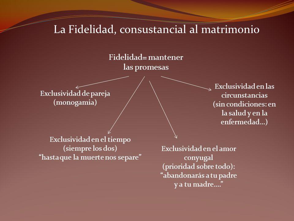 La Fidelidad, consustancial al matrimonio Fidelidad= mantener las promesas Exclusividad de pareja (monogamia) Exclusividad en el tiempo (siempre los d