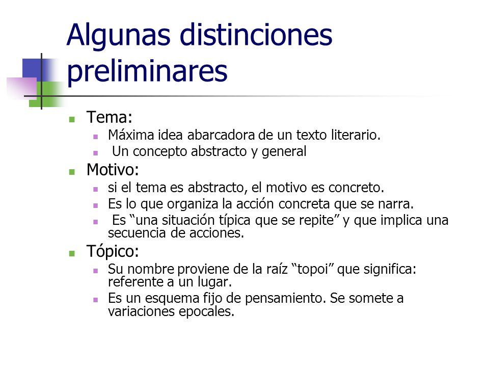 Algunas distinciones preliminares Tema: Máxima idea abarcadora de un texto literario. Un concepto abstracto y general Motivo: si el tema es abstracto,