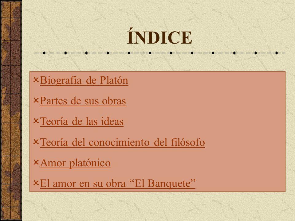 ÍNDICE Biografía de Platón Partes de sus obras Teoría de las ideas Teoría del conocimiento del filósofo Amor platónico El amor en su obra El Banquete