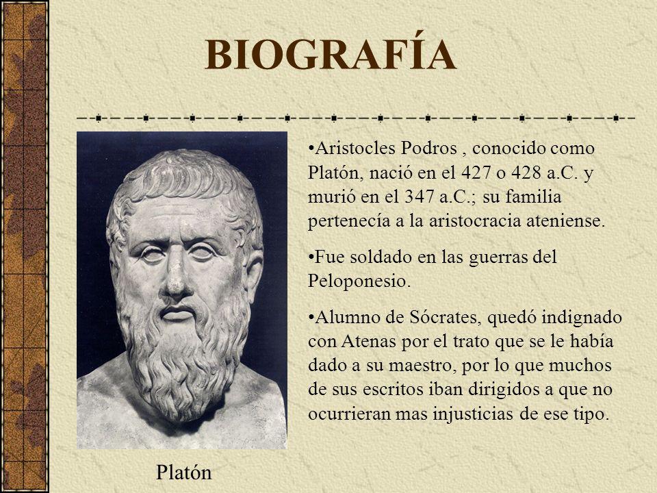 BIOGRAFÍA Aristocles Podros, conocido como Platón, nació en el 427 o 428 a.C. y murió en el 347 a.C.; su familia pertenecía a la aristocracia ateniens