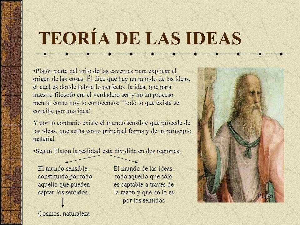 TEORÍA DE LAS IDEAS Platón parte del mito de las cavernas para explicar el origen de las cosas. Él dice que hay un mundo de las ideas, el cual es dond
