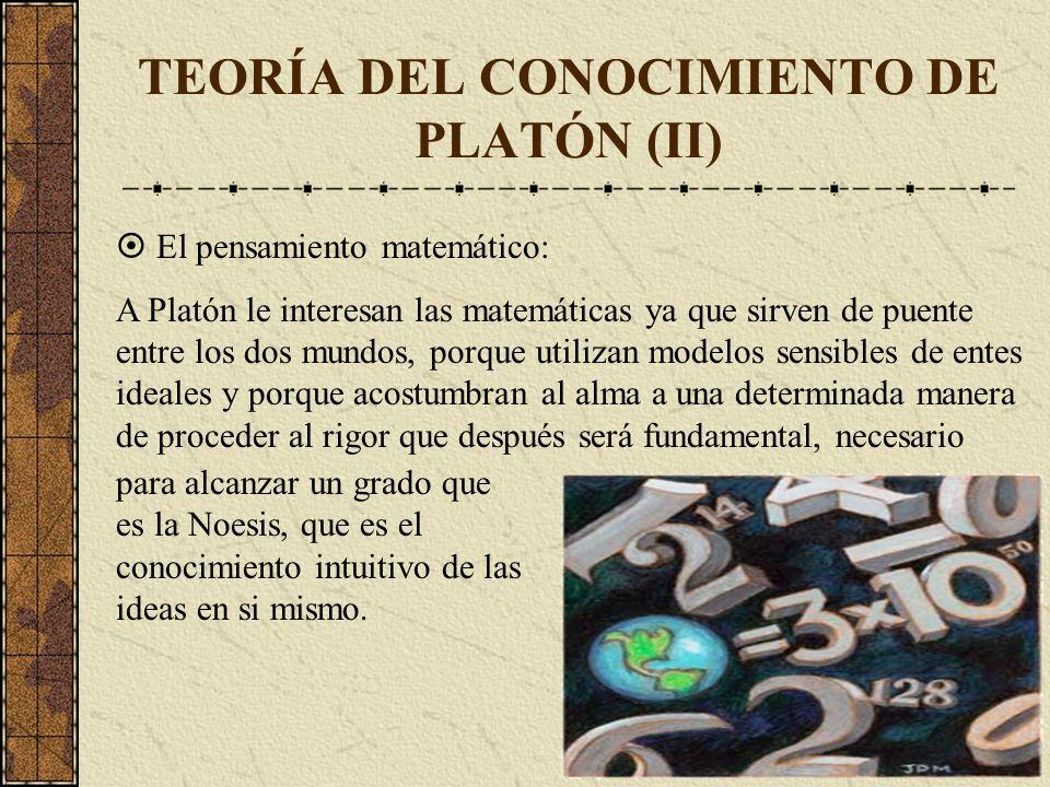 TEORÍA DEL CONOCIMIENTO DE PLATÓN (II) El pensamiento matemático: A Platón le interesan las matemáticas ya que sirven de puente entre los dos mundos,