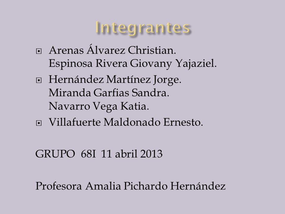 Arenas Álvarez Christian. Espinosa Rivera Giovany Yajaziel. Hernández Martínez Jorge. Miranda Garfias Sandra. Navarro Vega Katia. Villafuerte Maldonad