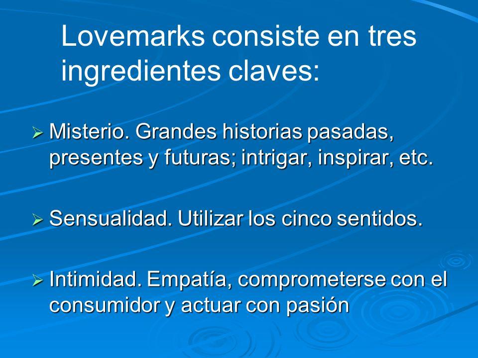 Love Marks Marcas del amor El Lovemarks es una técnica de marketing que va más allá de la mente. por lo que se podría traducir como
