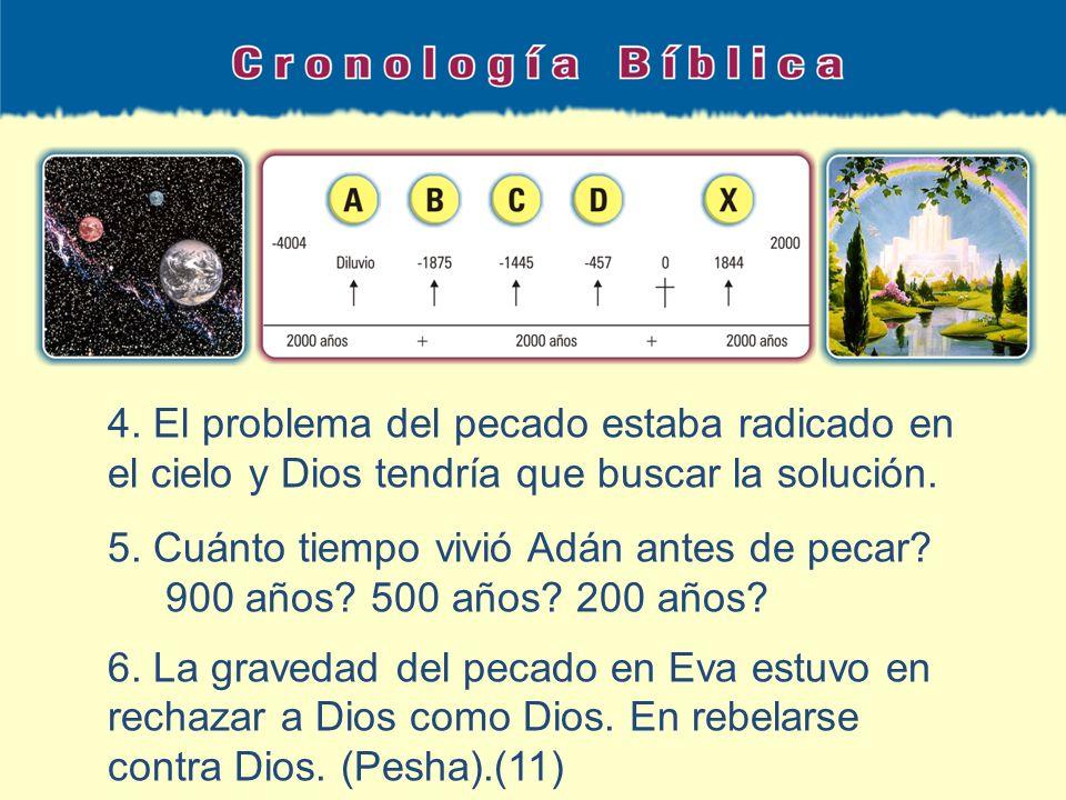 4. El problema del pecado estaba radicado en el cielo y Dios tendría que buscar la solución. 5. Cuánto tiempo vivió Adán antes de pecar? 900 años? 500