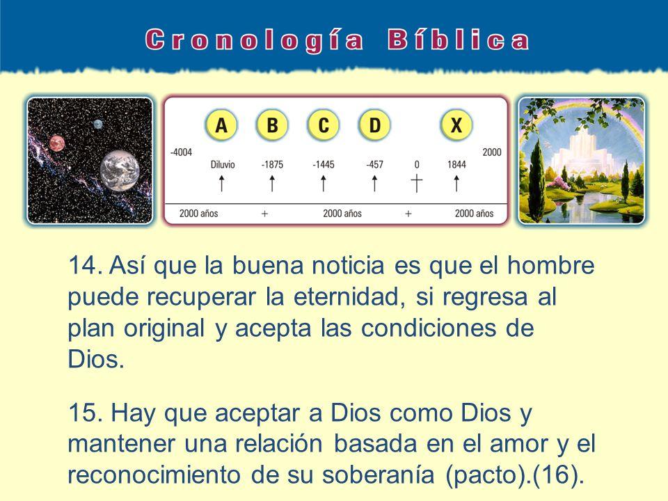 14. Así que la buena noticia es que el hombre puede recuperar la eternidad, si regresa al plan original y acepta las condiciones de Dios. 15. Hay que