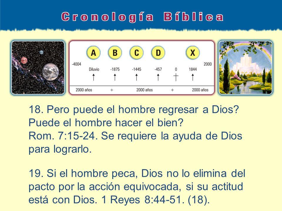 18. Pero puede el hombre regresar a Dios? Puede el hombre hacer el bien? Rom. 7:15-24. Se requiere la ayuda de Dios para lograrlo. 19. Si el hombre pe