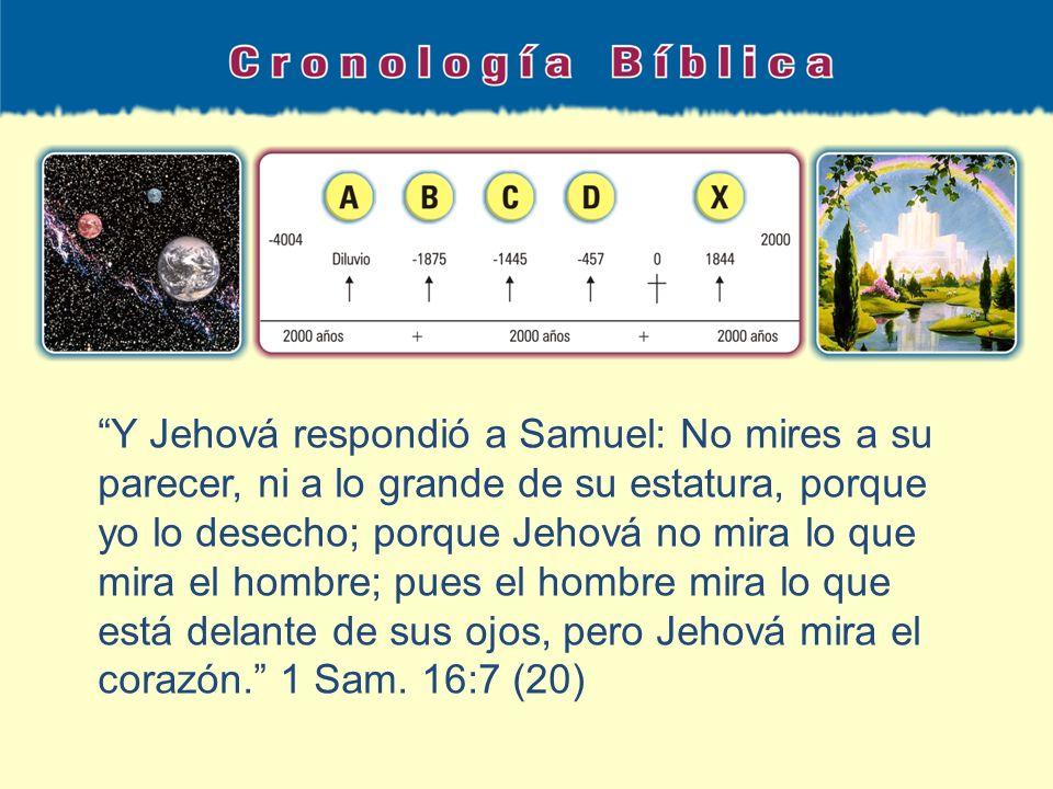Y Jehová respondió a Samuel: No mires a su parecer, ni a lo grande de su estatura, porque yo lo desecho; porque Jehová no mira lo que mira el hombre;