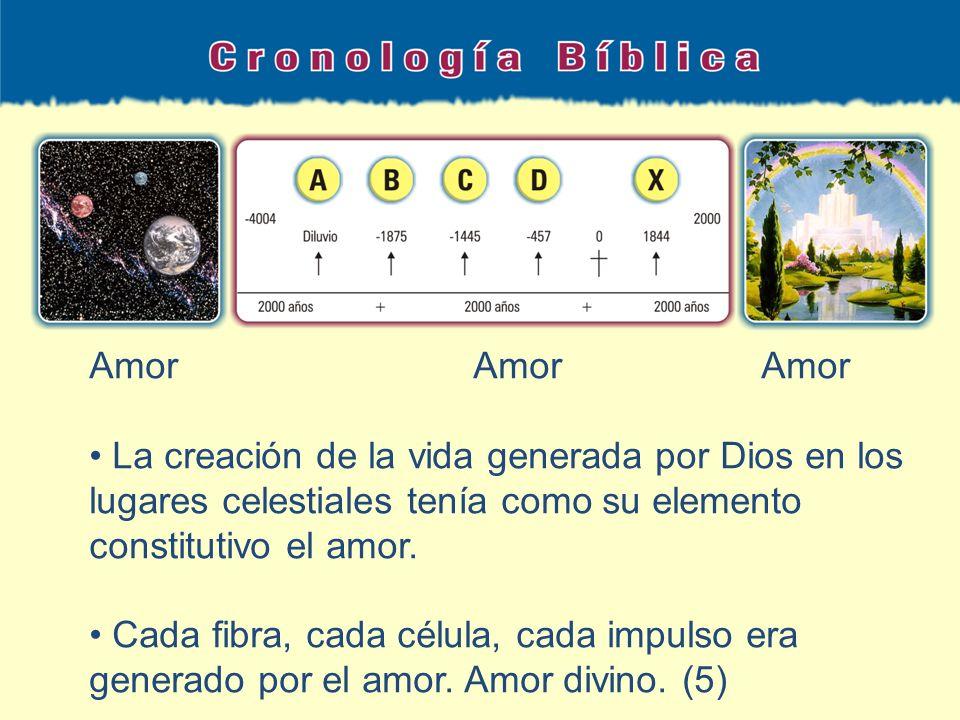 AmorAmorAmor La creación de la vida generada por Dios en los lugares celestiales tenía como su elemento constitutivo el amor. Cada fibra, cada célula,