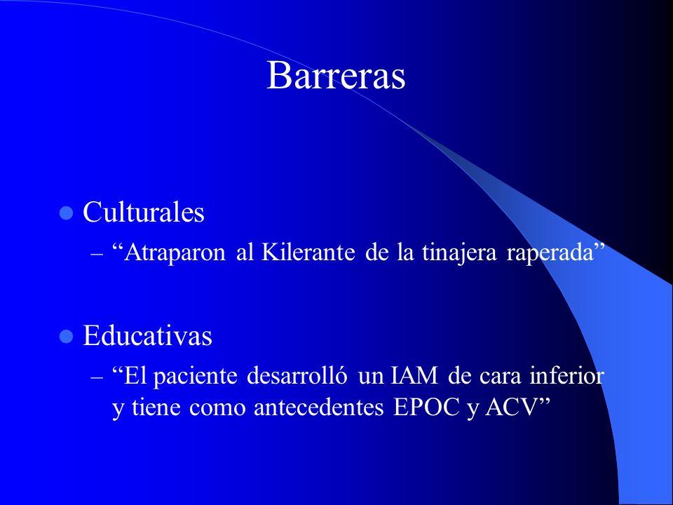 Barreras Culturales – Atraparon al Kilerante de la tinajera raperada Educativas – El paciente desarrolló un IAM de cara inferior y tiene como antecede