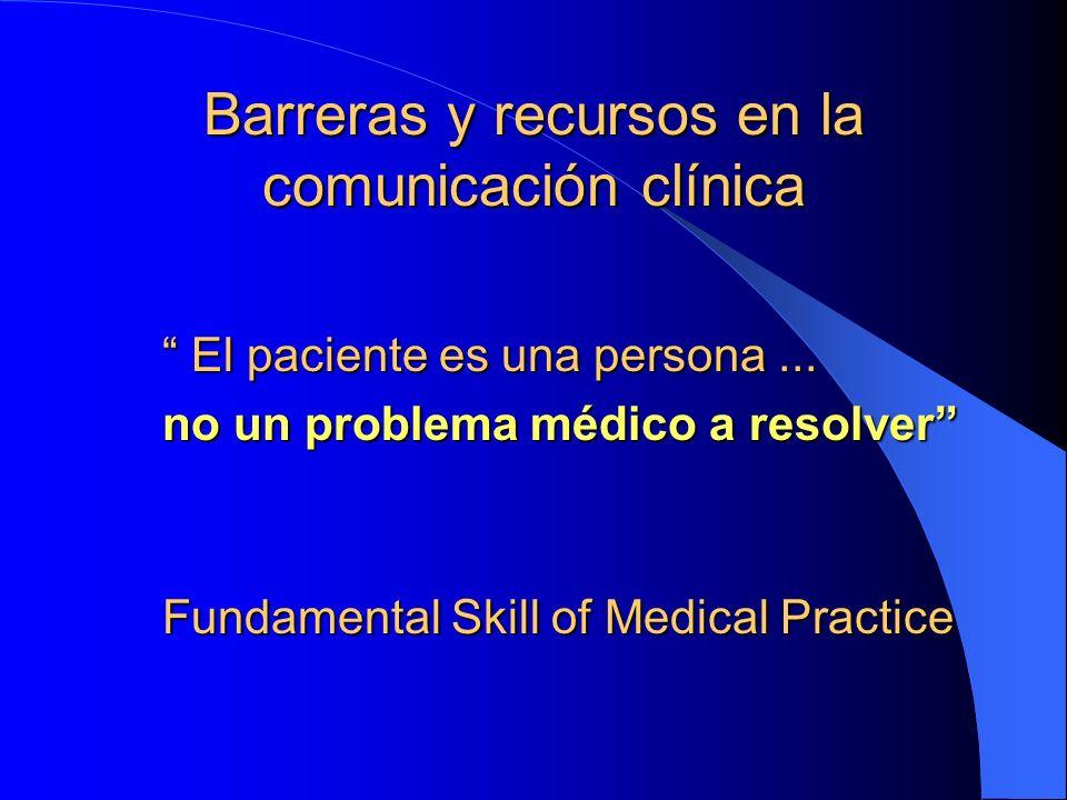 Barreras y recursos en la comunicación clínica El paciente es una persona... El paciente es una persona... no un problema médico a resolver Fundamenta