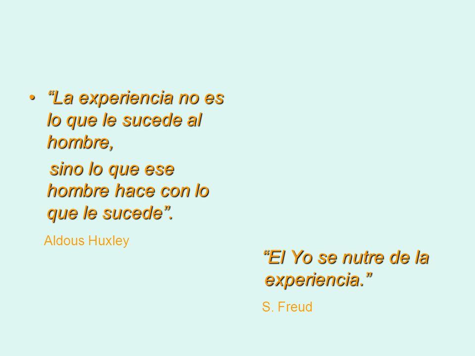 La experiencia no es lo que le sucede al hombre, sino lo que ese hombre hace con lo que le sucede. Aldous Huxley El Yo se nutre de la experiencia. El