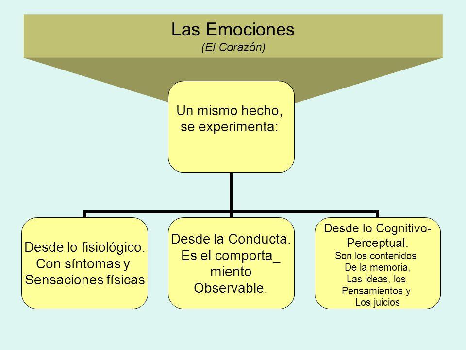 Las Emociones (El Corazón) Un mismo hecho, se experimenta: Desde lo fisiológico. Con síntomas y Sensaciones físicas Desde la Conducta. Es el comporta_