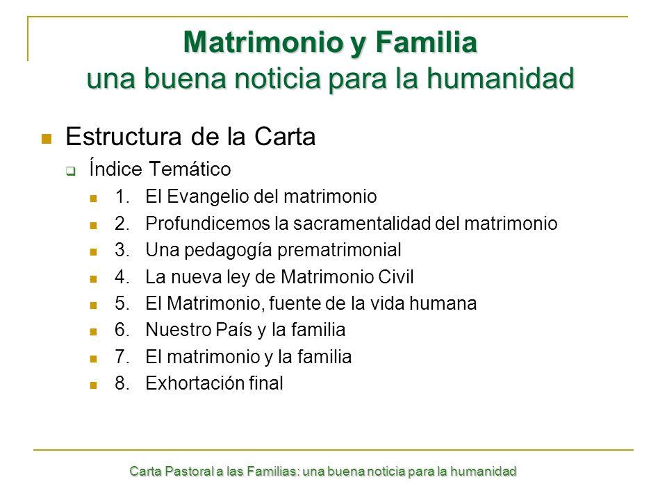 Carta Pastoral a las Familias: una buena noticia para la humanidad Estructura de la Carta Índice Temático 1. El Evangelio del matrimonio 2.Profundicem