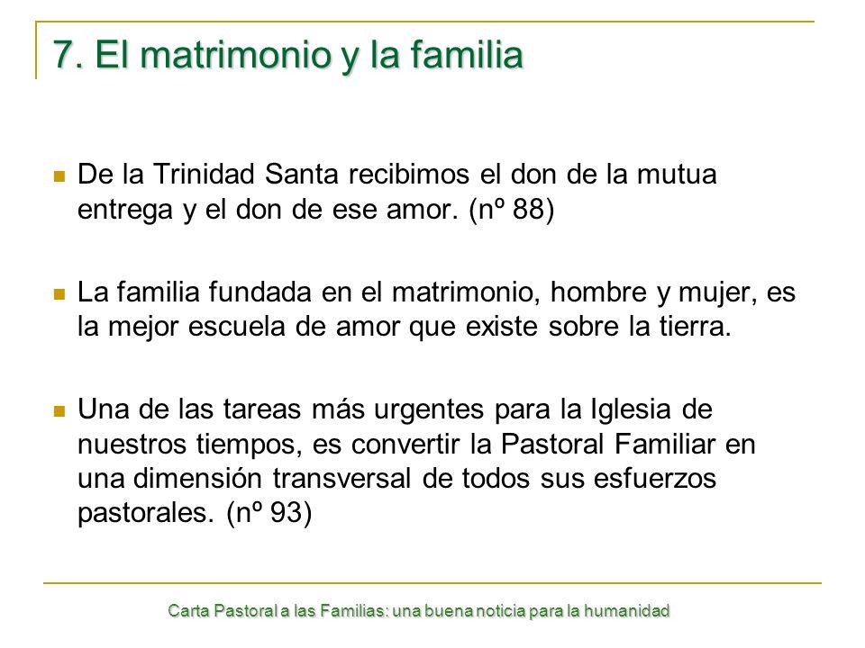 Carta Pastoral a las Familias: una buena noticia para la humanidad 7. El matrimonio y la familia De la Trinidad Santa recibimos el don de la mutua ent