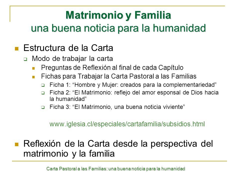 Carta Pastoral a las Familias: una buena noticia para la humanidad Estructura de la Carta Modo de trabajar la carta Preguntas de Reflexión al final de