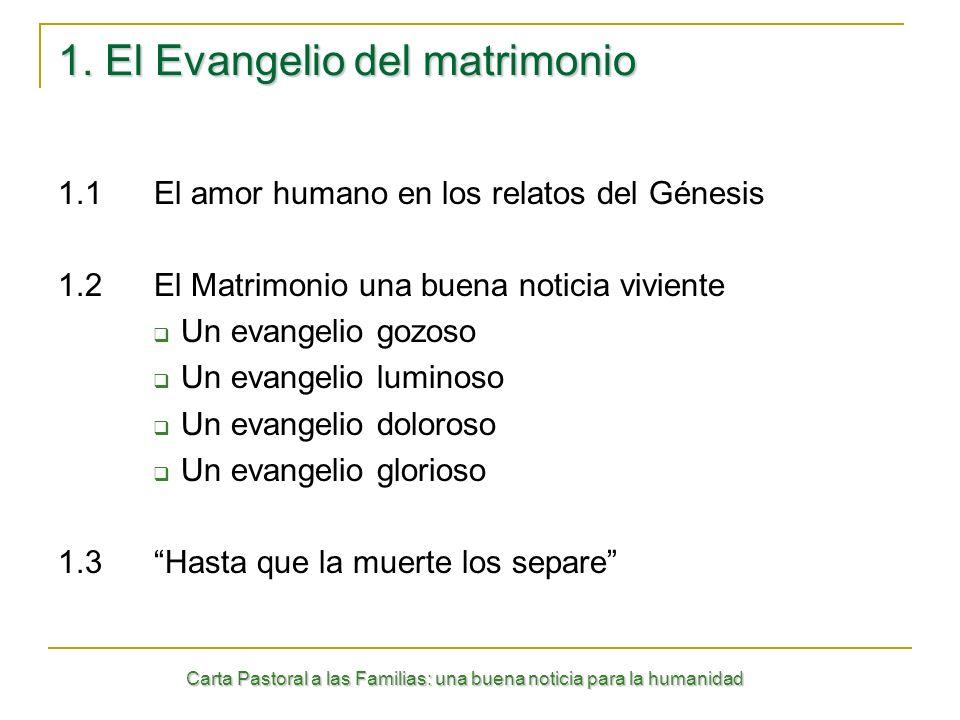 Carta Pastoral a las Familias: una buena noticia para la humanidad 1. El Evangelio del matrimonio 1.1El amor humano en los relatos del Génesis 1.2El M