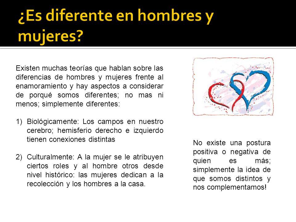 Existen muchas teorías que hablan sobre las diferencias de hombres y mujeres frente al enamoramiento y hay aspectos a considerar de porqué somos difer