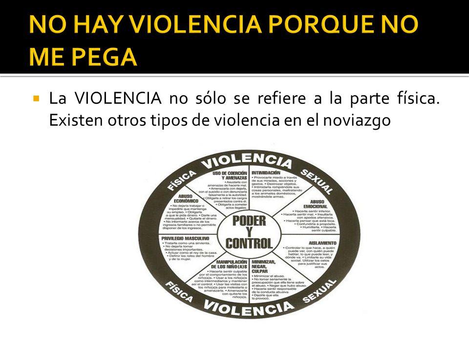 La VIOLENCIA no sólo se refiere a la parte física. Existen otros tipos de violencia en el noviazgo