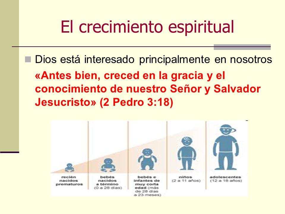 El crecimiento espiritual Dios está interesado principalmente en nosotros «Antes bien, creced en la gracia y el conocimiento de nuestro Señor y Salvad
