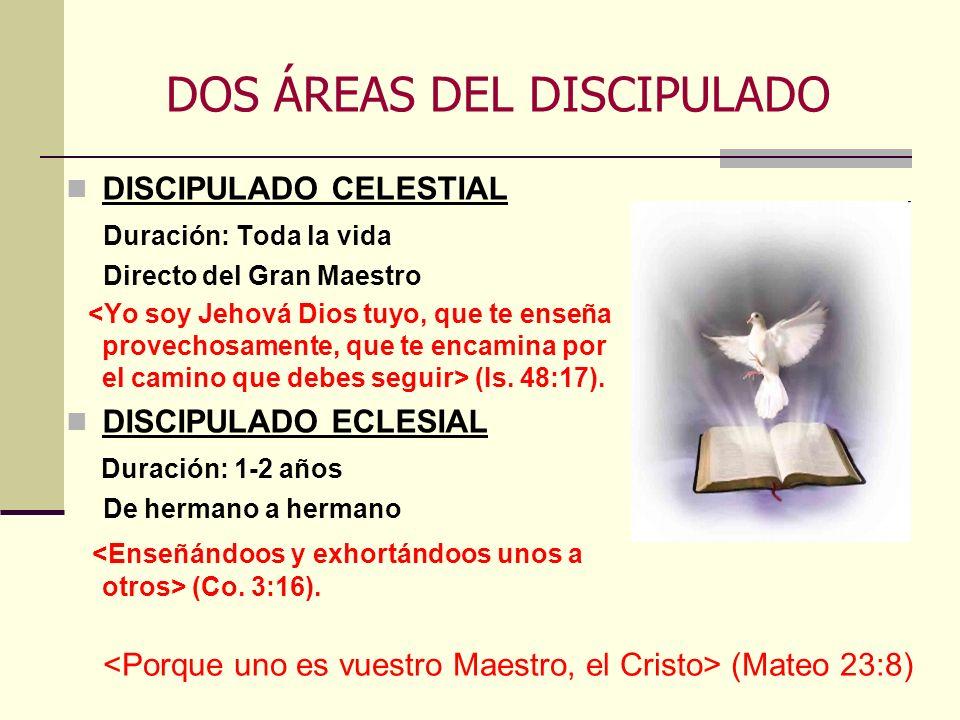 DOS ÁREAS DEL DISCIPULADO DISCIPULADO CELESTIAL Duración: Toda la vida Directo del Gran Maestro (Is. 48:17). DISCIPULADO ECLESIAL Duración: 1-2 años D