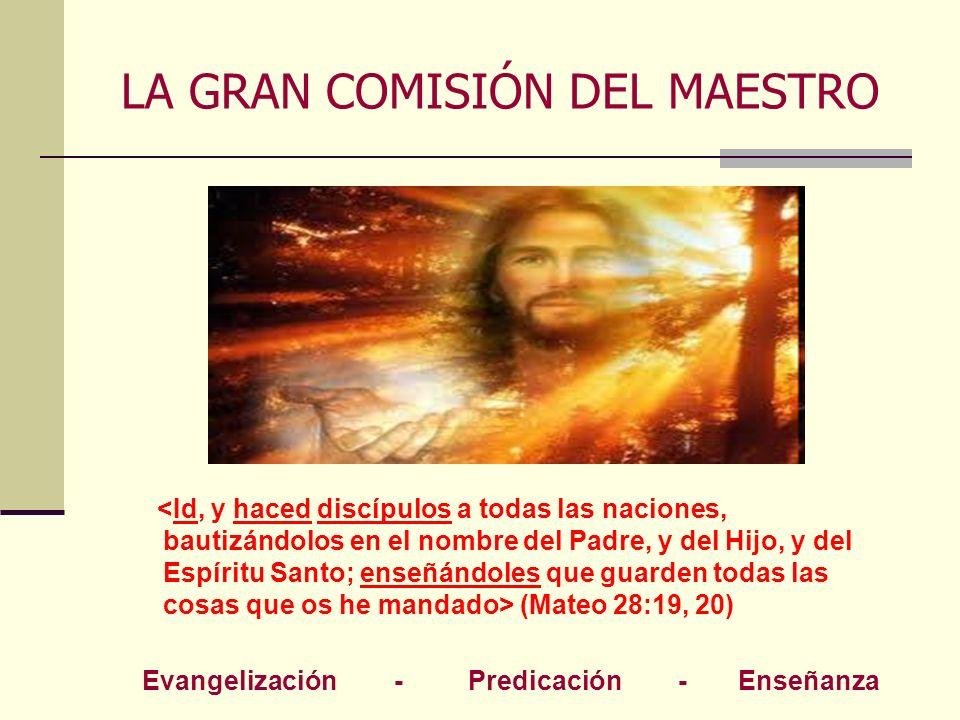 LA GRAN COMISIÓN DEL MAESTRO (Mateo 28:19, 20) Evangelización - Predicación - Enseñanza