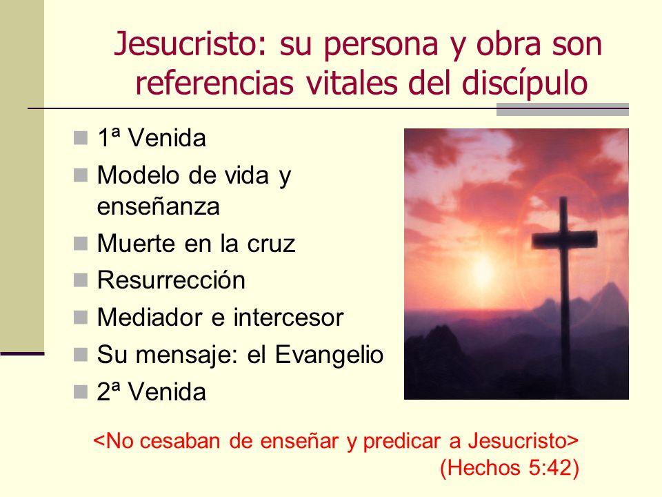 Jesucristo: su persona y obra son referencias vitales del discípulo 1ª Venida Modelo de vida y enseñanza Muerte en la cruz Resurrección Mediador e int