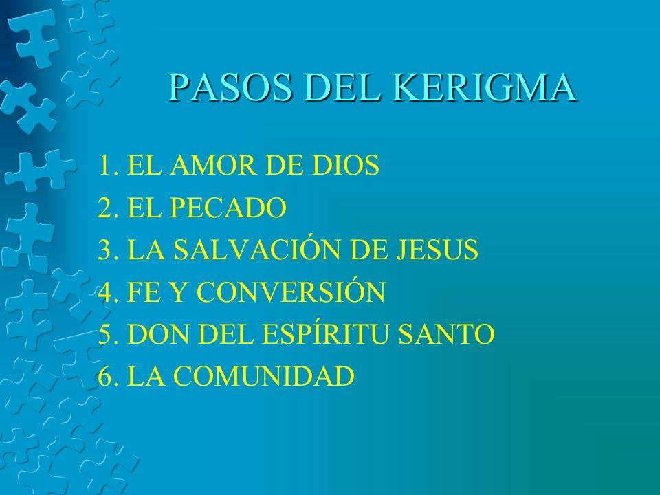 PASOS DEL KERIGMA 1.EL AMOR DE DIOS 2. EL PECADO 3.