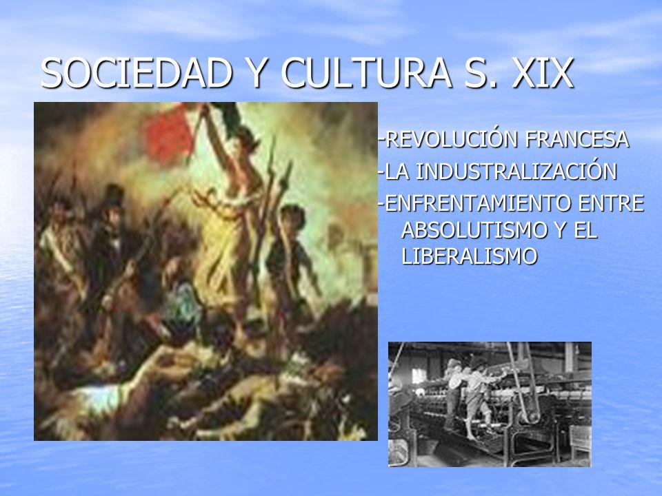 SOCIEDAD Y CULTURA S. XIX - REVOLUCIÓN FRANCESA -LA INDUSTRALIZACIÓN -ENFRENTAMIENTO ENTRE ABSOLUTISMO Y EL LIBERALISMO
