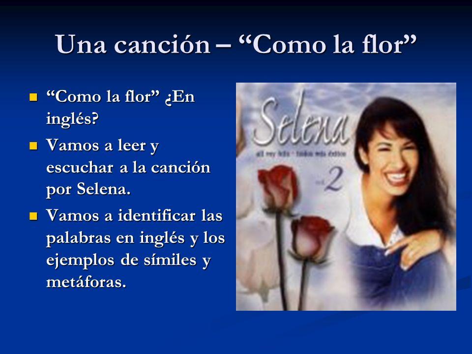 Una canción – Como la flor Como la flor ¿En inglés? Como la flor ¿En inglés? Vamos a leer y escuchar a la canción por Selena. Vamos a leer y escuchar