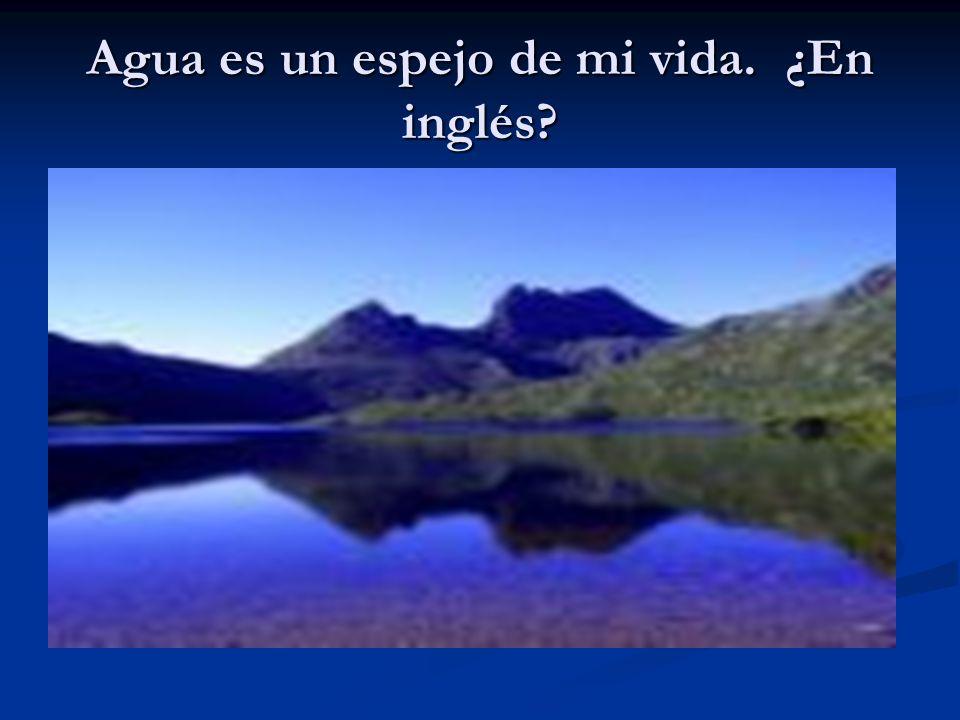 Agua es un espejo de mi vida. ¿En inglés?