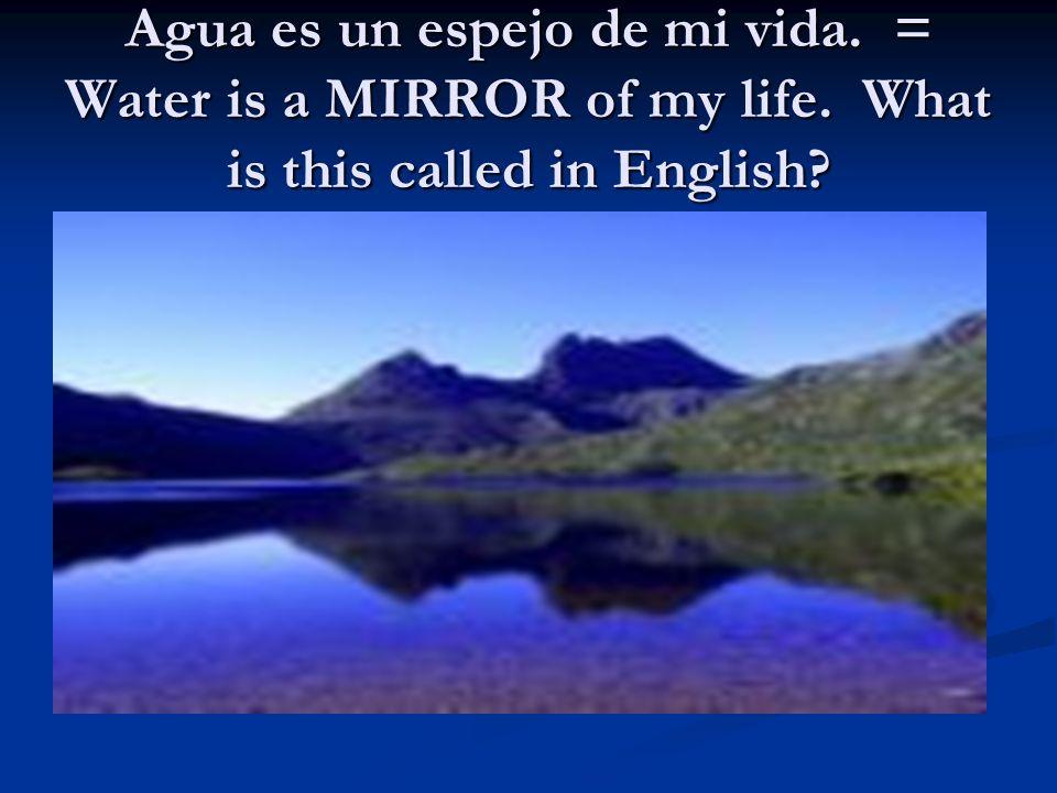 Agua es un espejo de mi vida.= Water is a MIRROR of my life.