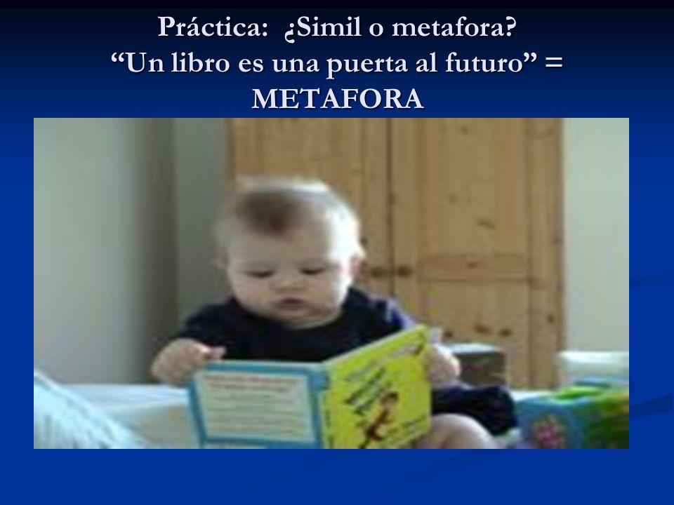 Práctica: ¿Simil o metafora? Un libro es una puerta al futuro = METAFORA