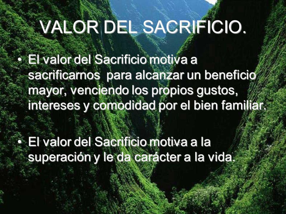 VALOR DEL SACRIFICIO. El valor del Sacrificio motiva a sacrificarnos para alcanzar un beneficio mayor, venciendo los propios gustos, intereses y comod