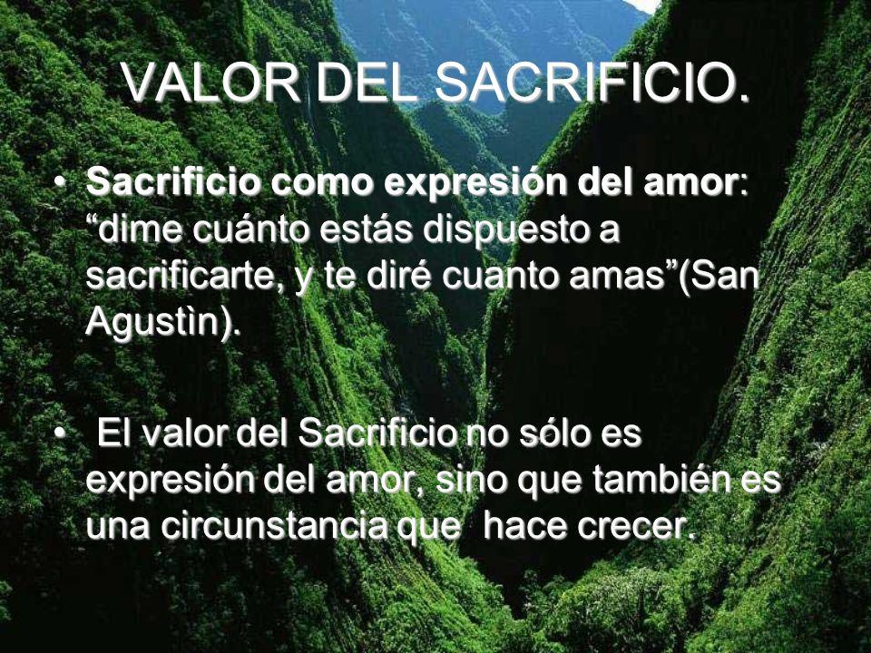 VALOR DEL SACRIFICIO. Sacrificio como expresión del amor: dime cuánto estás dispuesto a sacrificarte, y te diré cuanto amas(San Agustìn).Sacrificio co