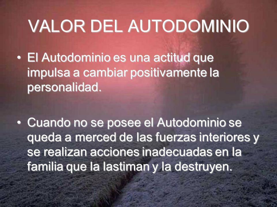 VALOR DEL AUTODOMINIO El Autodominio es una actitud que impulsa a cambiar positivamente la personalidad.El Autodominio es una actitud que impulsa a ca