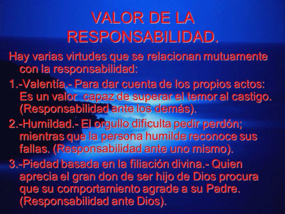 VALOR DE LA RESPONSABILIDAD. Hay varias virtudes que se relacionan mutuamente con la responsabilidad: 1.-Valentía.- Para dar cuenta de los propios act