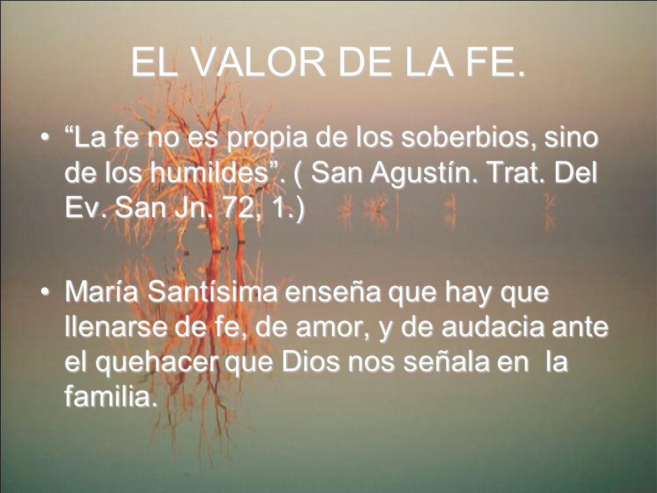 EL VALOR DE LA FE. La fe no es propia de los soberbios, sino de los humildes. ( San Agustín. Trat. Del Ev. San Jn. 72, 1.)La fe no es propia de los so
