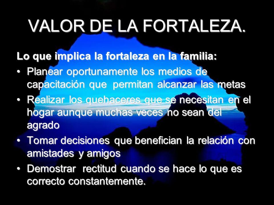 VALOR DE LA FORTALEZA. Lo que implica la fortaleza en la familia: Planear oportunamente los medios de capacitación que permitan alcanzar las metasPlan