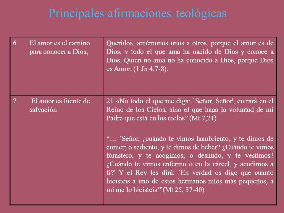 Principales afirmaciones teológicas 6.El amor es el camino para conocer a Dios; Queridos, amémonos unos a otros, porque el amor es de Dios, y todo el
