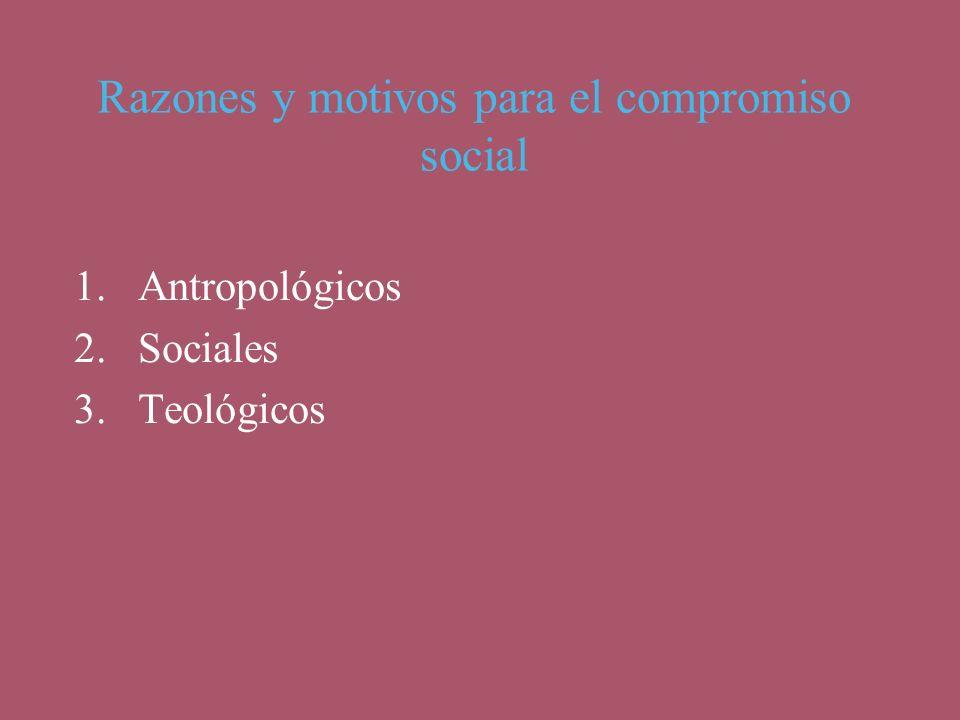 Razones y motivos para el compromiso social 1.Antropológicos 2.Sociales 3.Teológicos