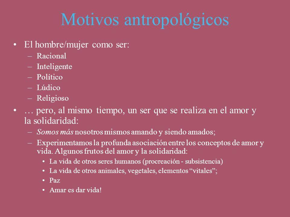 Motivos antropológicos El hombre/mujer como ser: –Racional –Inteligente –Político –Lúdico –Religioso … pero, al mismo tiempo, un ser que se realiza en