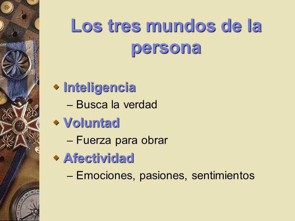 Los tres mundos de la persona Inteligencia Inteligencia – Busca la verdad Voluntad Voluntad – Fuerza para obrar Afectividad Afectividad – Emociones, p