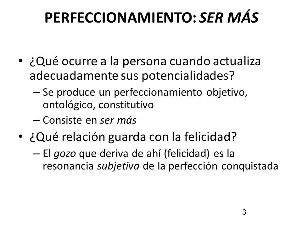 PERFECCIONAMIENTO: SER MÁS ¿Qué ocurre a la persona cuando actualiza adecuadamente sus potencialidades? – Se produce un perfeccionamiento objetivo, on